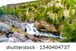 The Firehole Falls in the Firehole River along the Firehole Canyon Road in Yellowstone National Park, Wyoming, United States
