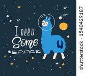 Cute Cartoon Print With Llama...