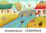 autumn rural landscape with... | Shutterstock .eps vector #154049645
