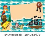 template with pirate ship ... | Shutterstock .eps vector #154053479
