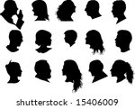 profiled silhouette of man and... | Shutterstock . vector #15406009