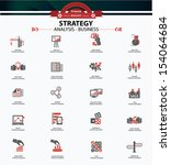 Strategy business and finance concept icons,Red version,vector