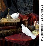 Two White Pigeons Among Vintage ...