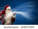 santa claus blows with hands... | Shutterstock . vector #154071494