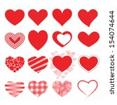 Stock vector set of red vector hearts icons 154074644