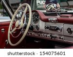 Driver's cockpit of a classic car  - stock photo