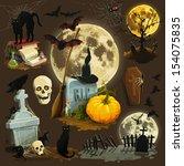 Stock vector clip art illustrations for halloween celebration 154075835