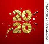 realistic 2020 golden numbers... | Shutterstock .eps vector #1540799987