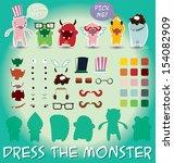 set of cute little monsters for ... | Shutterstock .eps vector #154082909