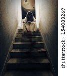 horror scene of a woman.    Shutterstock . vector #154083269
