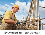 builder worker knitting metal... | Shutterstock . vector #154087514