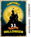 halloween party. old poster... | Shutterstock .eps vector #154088549