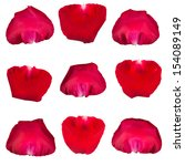 set of rose petal on white... | Shutterstock . vector #154089149