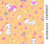 seamless pattern with cute...   Shutterstock . vector #154090037