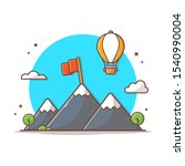 mountain landscape with flag... | Shutterstock .eps vector #1540990004