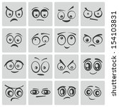 vector black  cartoon  eyes  set | Shutterstock .eps vector #154103831