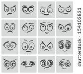 vector black  cartoon  eyes  set | Shutterstock .eps vector #154103831