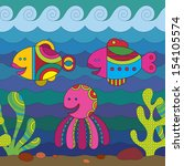 stylize fantasy fishes under... | Shutterstock .eps vector #154105574