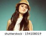 portrait beautiful girl long... | Shutterstock . vector #154108019