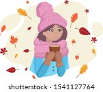 cute girl with coffee cup in... | Shutterstock .eps vector #1541127764