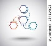 three hexagonal cells are... | Shutterstock .eps vector #154114625