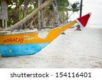 Santa hat on a boat nose on Boracay - stock photo