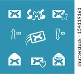 set vector email icons.   Shutterstock .eps vector #154119161