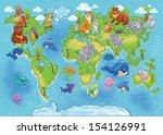 map of world wild animals | Shutterstock . vector #154126991