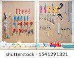 workshop scene. tools on the... | Shutterstock . vector #1541291321