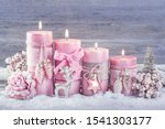 Four Pink Christmas Candle For...