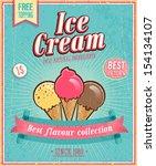vintage ice cream poster.... | Shutterstock .eps vector #154134107