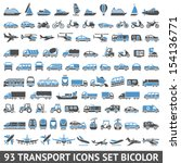 93 transport icons set bicolor  ...