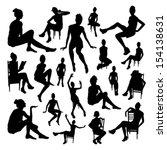 sitting girls set | Shutterstock .eps vector #154138631