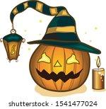 halloween pumpkin with hat...   Shutterstock .eps vector #1541477024