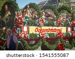 Small photo of MUNICH, GERMANY - SEPTEMBER 22, 2019 Grand entry of the Oktoberfest landlords and breweries, festive parade of magnificent decorated carriages and bands.Carriage of Ochsenbraterei tent
