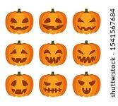 emotion face pumpkin set ... | Shutterstock .eps vector #1541567684
