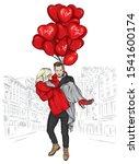 beautiful couple in love. a man ... | Shutterstock .eps vector #1541600174