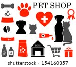 Stock vector colorful set of veterinary pet icons 154160357