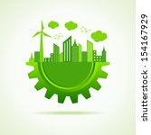 eco city concept with gear...   Shutterstock .eps vector #154167929