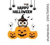 cute owl on a halloween pumpkin. | Shutterstock .eps vector #1541704541