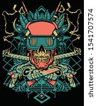 Cyberpunk Skull With Halftone...