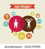 lose weight over  beige... | Shutterstock .eps vector #154174595