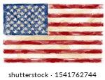 American Usa Flag Watercolor...
