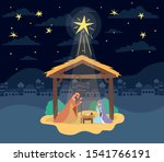 cute holy family in stable... | Shutterstock .eps vector #1541766191