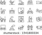 co working space line icon set. ... | Shutterstock .eps vector #1541800334