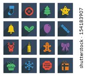 flat color christmas icons with ...   Shutterstock .eps vector #154183907