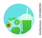 green smoothie. healthy drink.... | Shutterstock .eps vector #1541886584