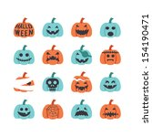 halloween pumpkin icon set | Shutterstock .eps vector #154190471