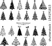 set of  christmas trees... | Shutterstock .eps vector #154191815