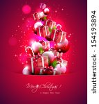 luxury red christmas background ... | Shutterstock .eps vector #154193894